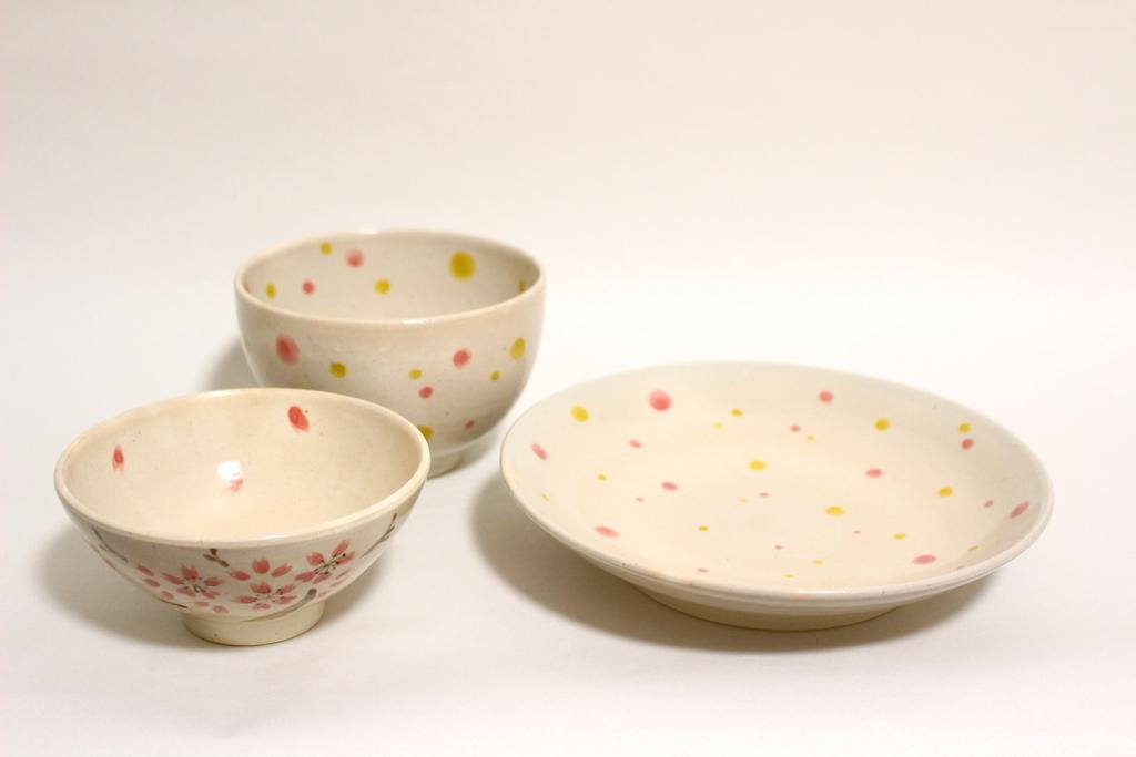 思い出の器3点セット【ピンク×黄ドットと桜】