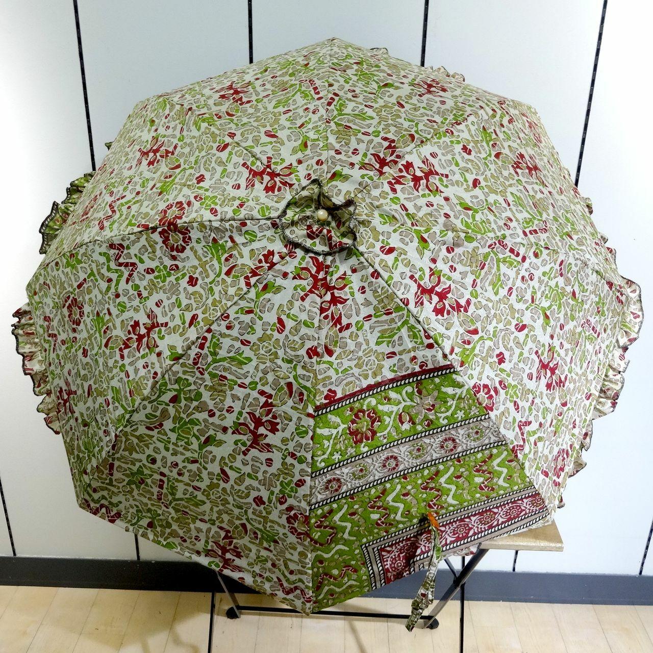 saripn-010 新型シルクサリー パラソルカバー【小枝】折畳傘本体・共布バッグ付き
