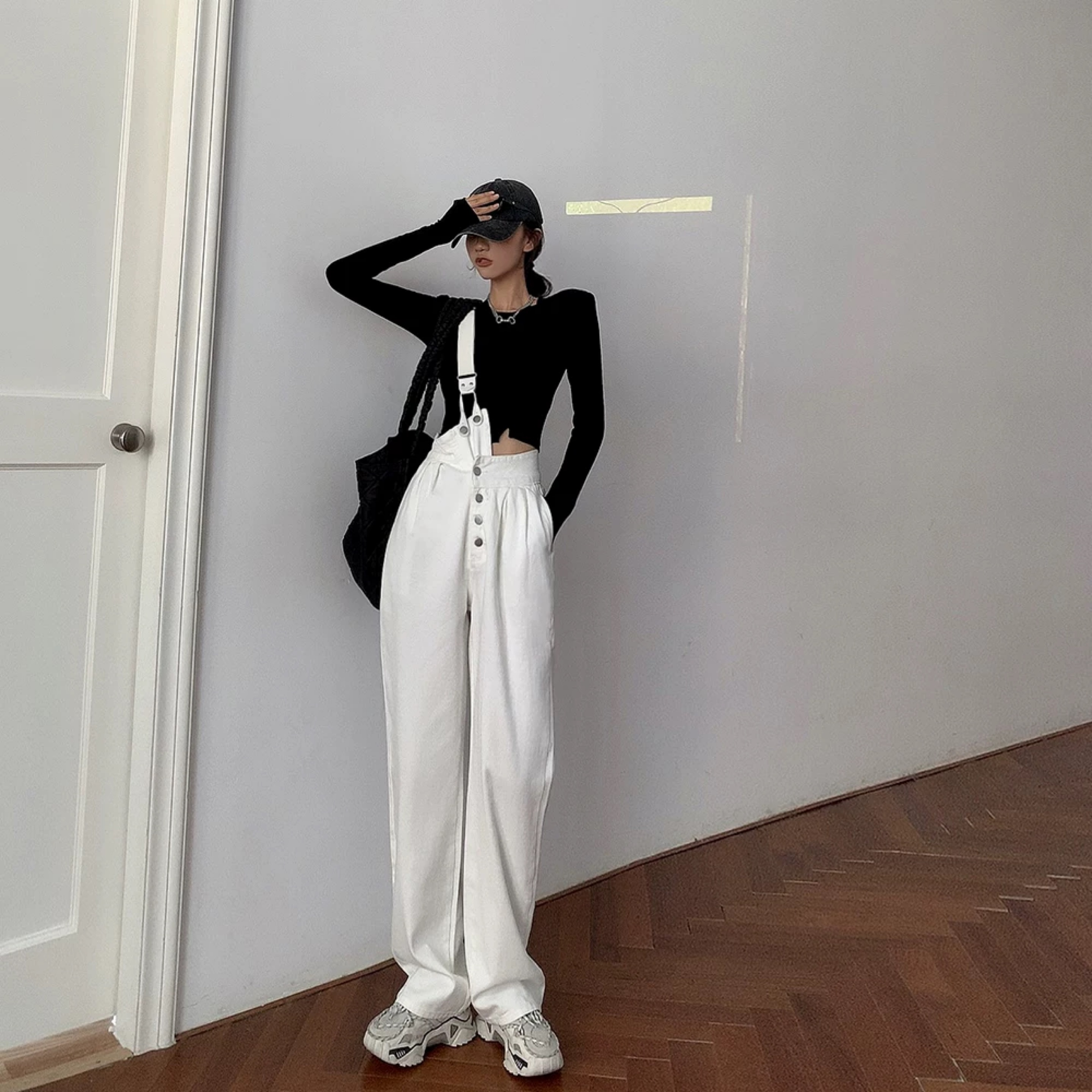 white one shoulder overall