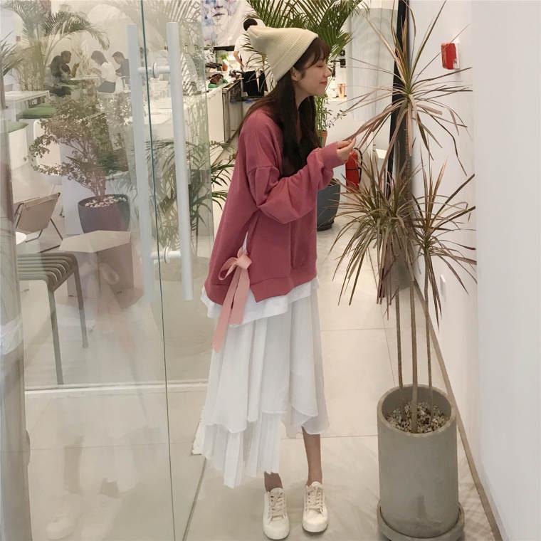 【送料無料】 おしゃれ上級者コーデ♡ レイヤード風 プルオーバー トップス × アシンメトリー ロング スカート  セットアップ