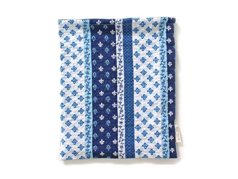 ハリネズミ用寝袋 L(夏用) 綿リップル×スムースニット パッチワーク柄 ブルー / Large Snuggle Sack for Hedgehog for Summer