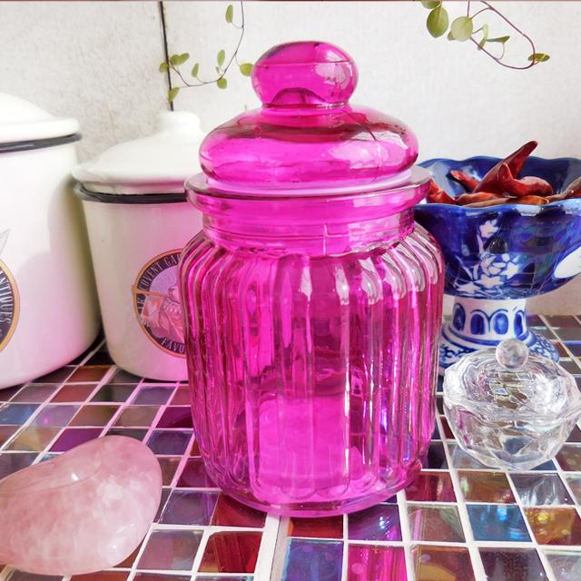 (107) キーストーン ガラスキャンディーポット ピンク キャニスター 容器