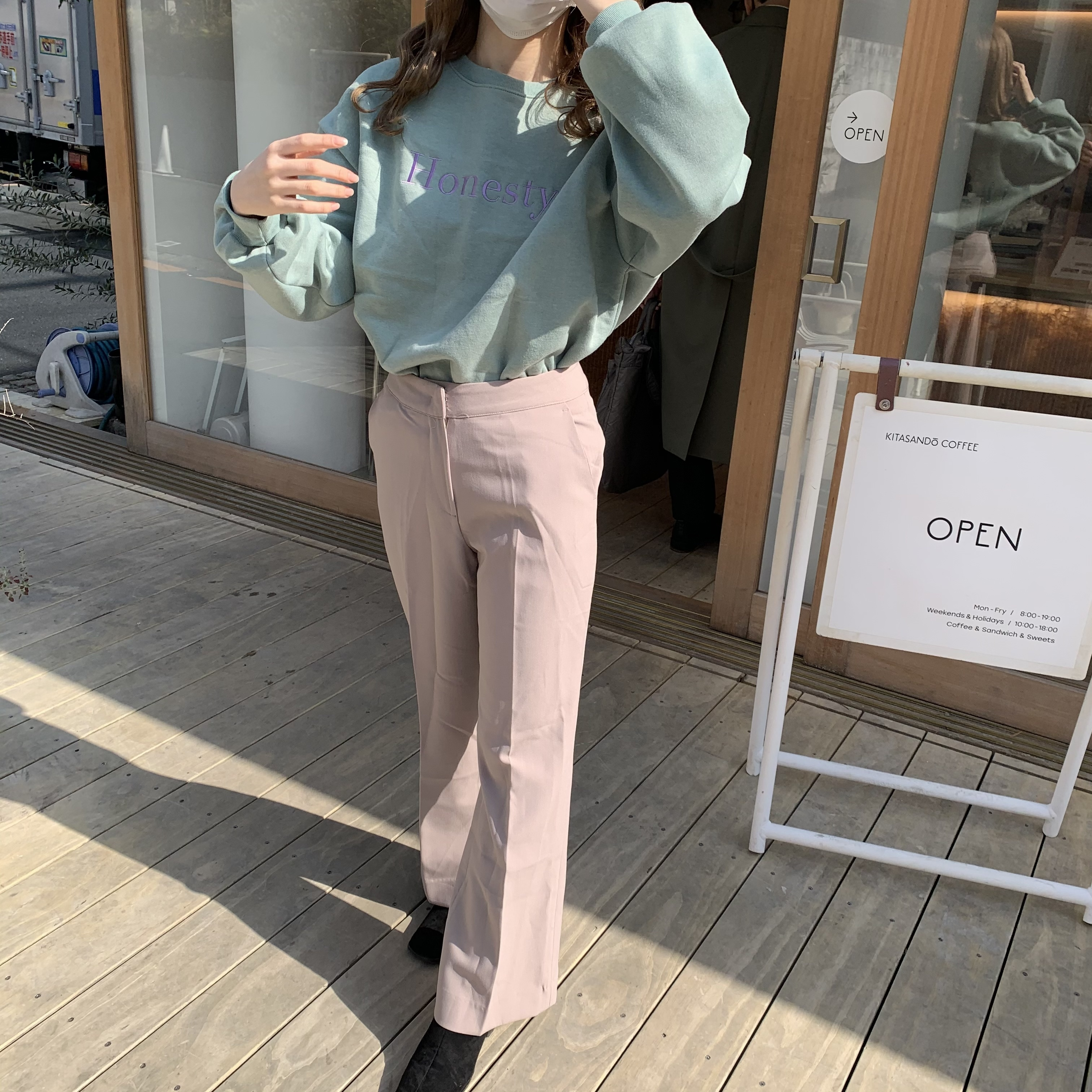pastel color slacks