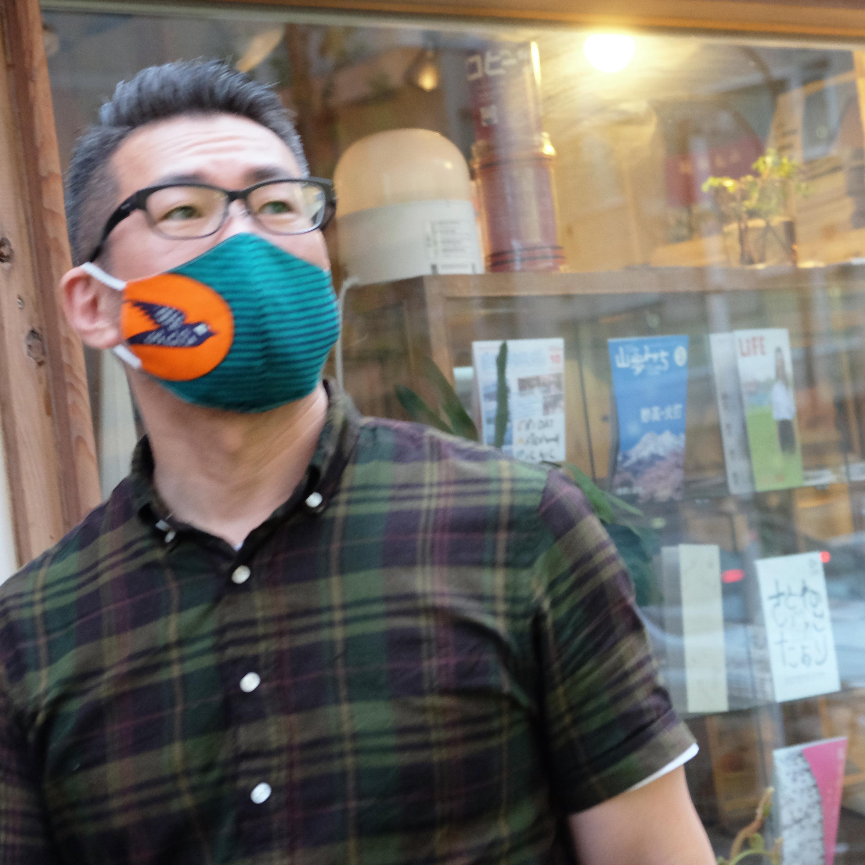 アフリカ布で作った銅繊維シート入りマスク/ツバメ_緑