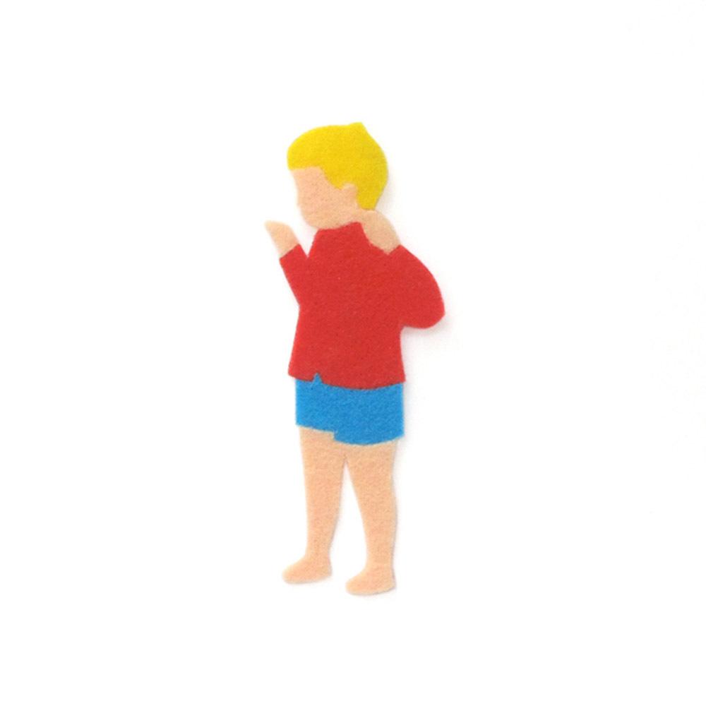 アイロン接着 フェルト アップリケ(赤服の男の子)