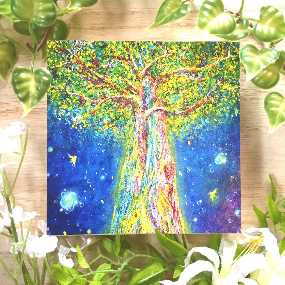 絵画 インテリア アートパネル 雑貨 壁掛け 置物 おしゃれ  アクリル画 パステル画 ひかり 樹 水彩画 ロココロ 画家 : Satoko Rin 作品 : ひかりの樹 ~reborn~