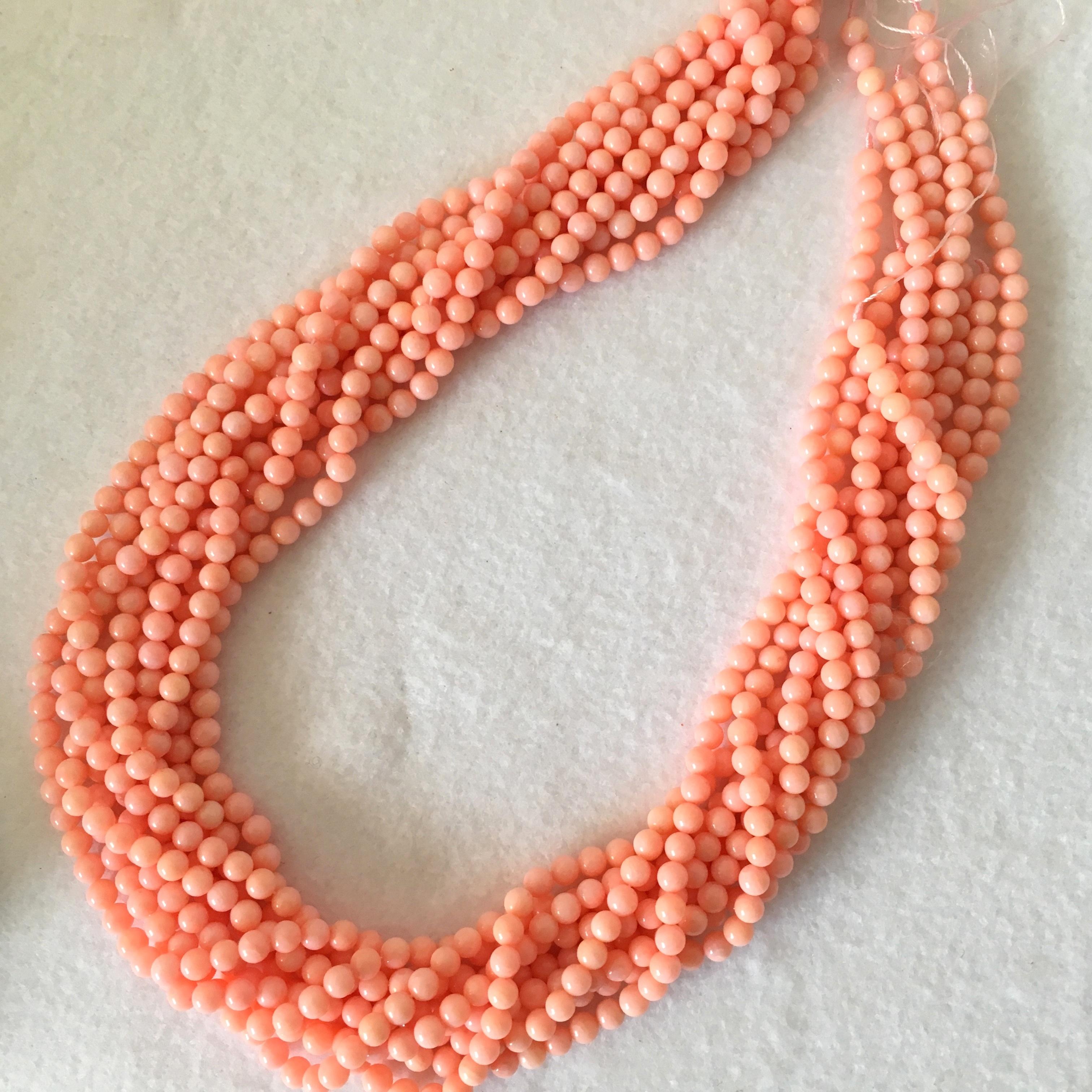 ピンク染サンゴ  約4〜4.5㎜ 連材【193206】