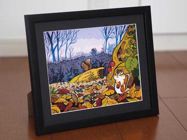 【額入り絵画・6切】リス達の住む森(パープル)