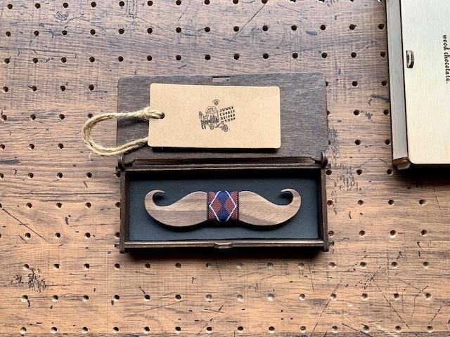 木製 蝶ネクタイ #Argyle Mustache - 画像1