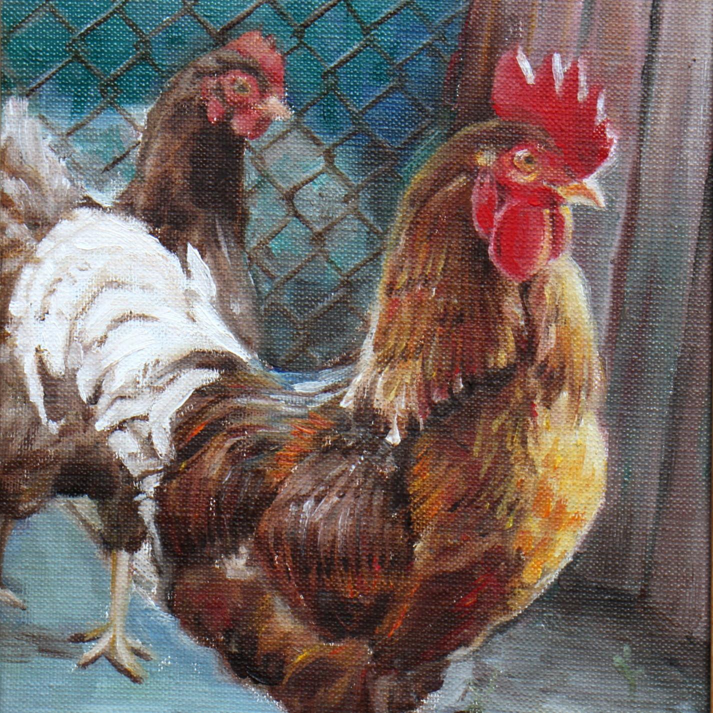 絵画 インテリア アートパネル 雑貨 壁掛け 置物 おしゃれ 油絵 水彩画 鉛筆画 鶏 動物 ロココロ 画家 : Uliana ( ウリャーナ ) 作品 : u-19
