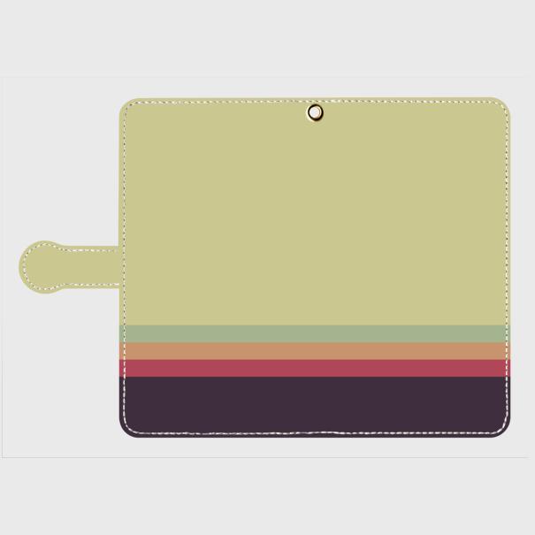 レトロストライプ(薄緑・薄水・橙・赤・紺)/Androidスマホケース(手帳型ケース)