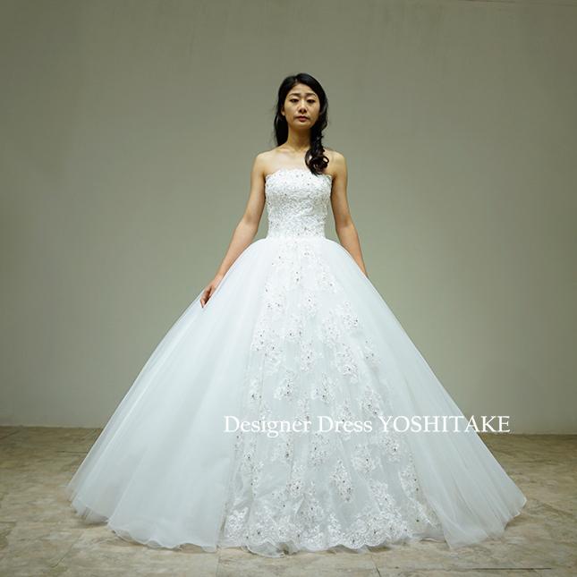 【オーダー制作】ウエディングドレス(無料パニエ) 挙式・フォト婚・ウエディングドレス上半身スカートビジュープリンセス(パニエ付)※制作期間3週間から6週間