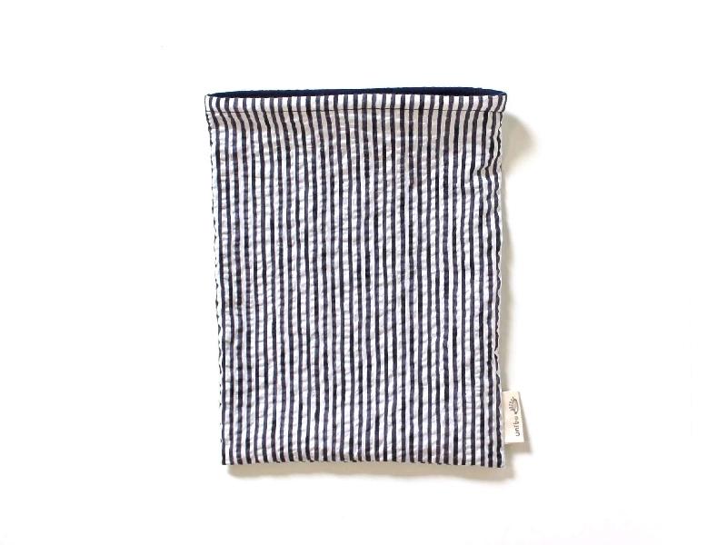 ハリネズミ用寝袋 M(夏用) 綿リップル×スムースニット ストライプ ネイビー【販売終了】