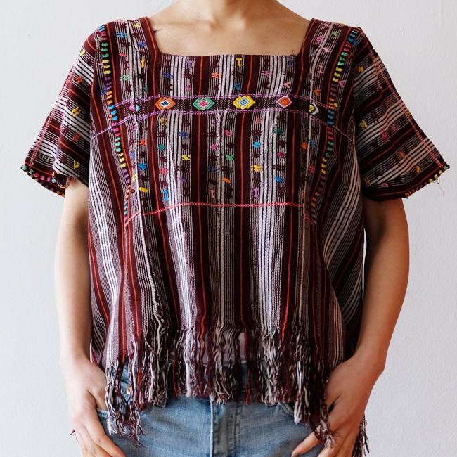 カラフル織りのウィピル /292b / GUATEMALA グアテマラ