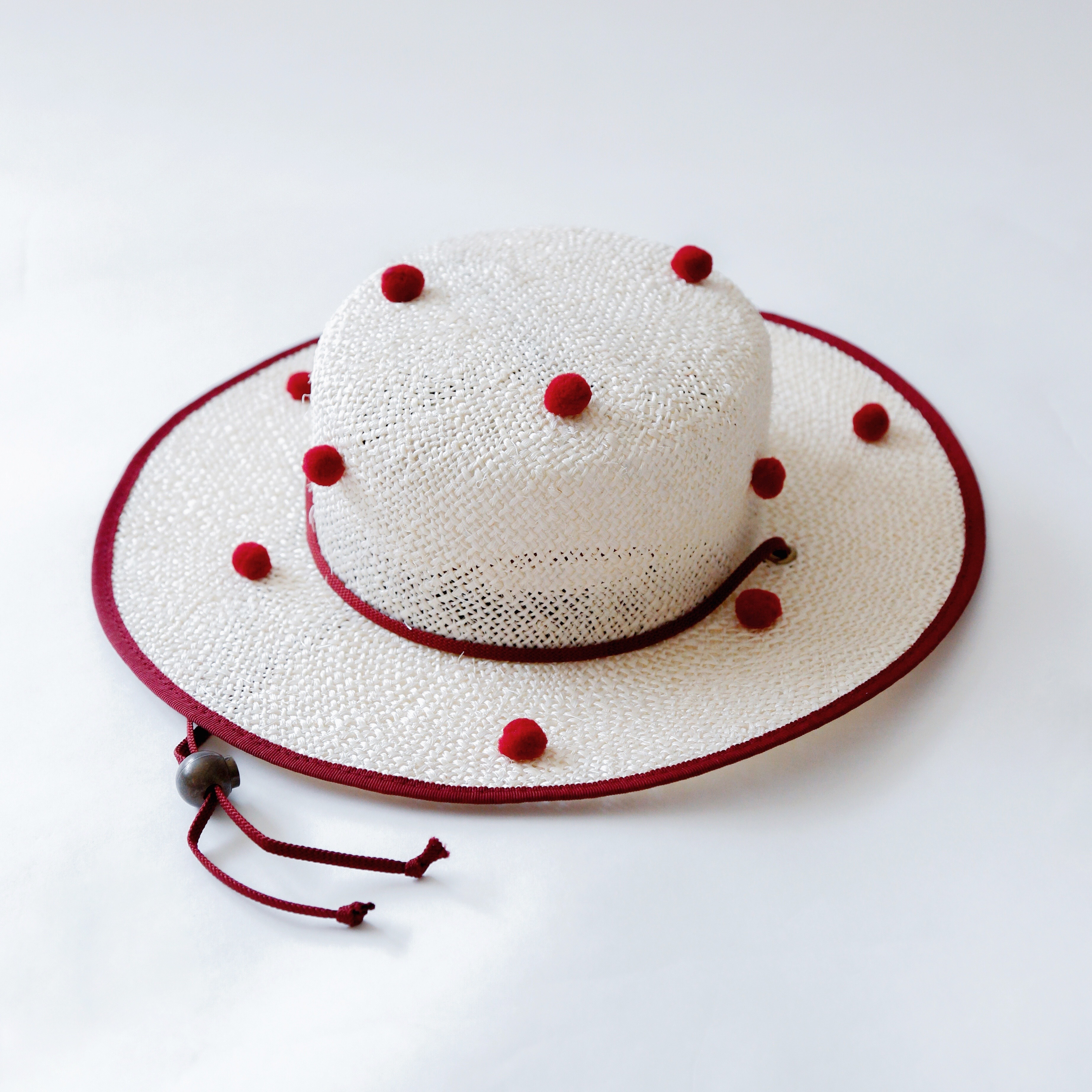 《michirico 2020SS》PonPon boater hat / natural & engine
