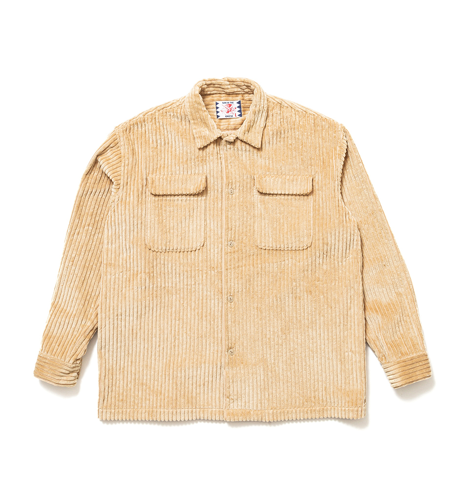 【SON OF THE CHEESE】BIG CORD FLAP Shirt(BEIGE)
