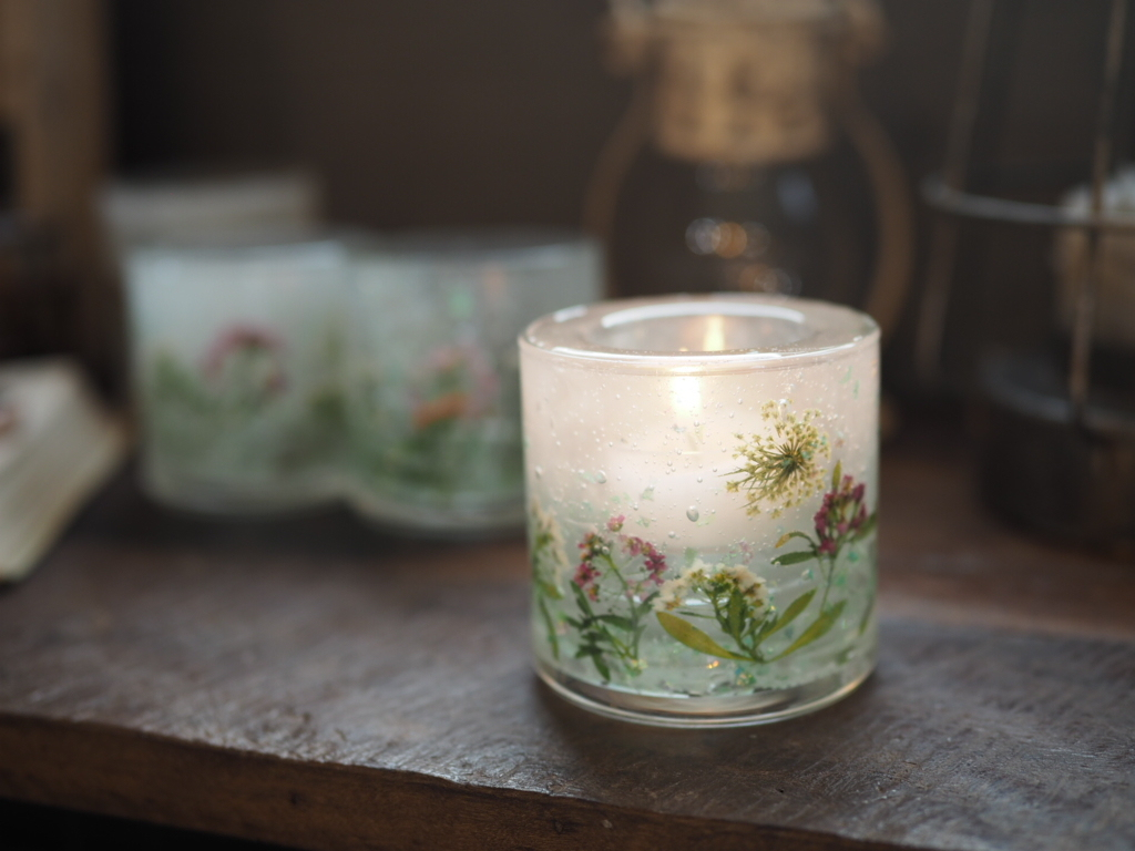 Pressed Flowers Candle Holder 5