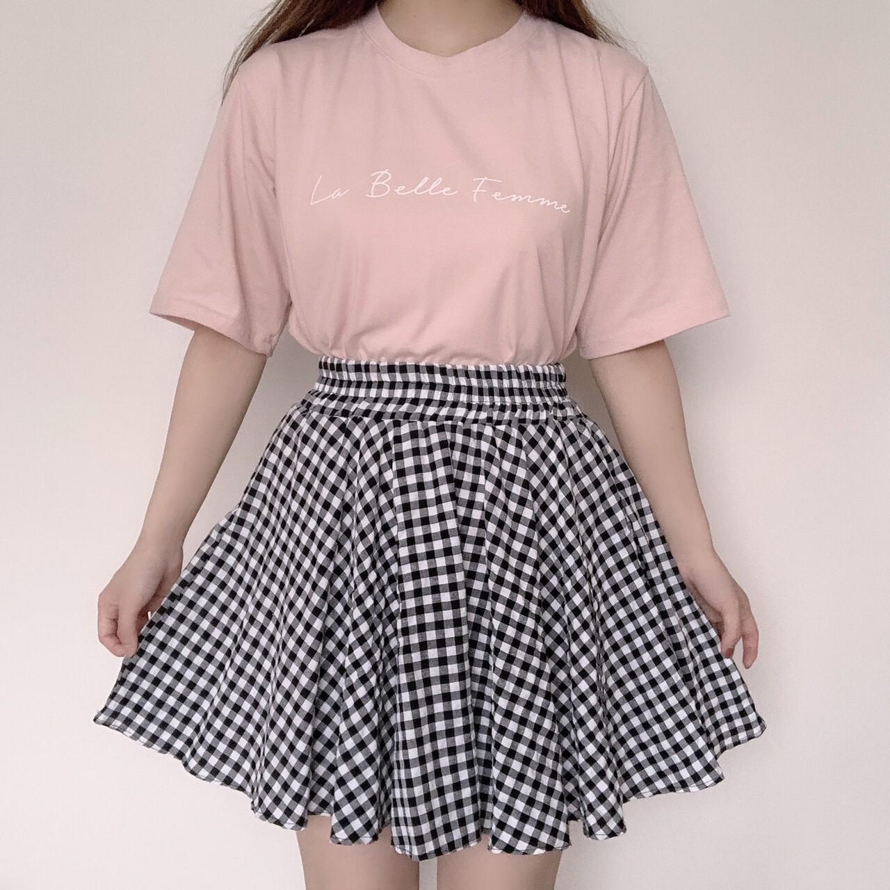 【meltie】gingham flare skirt