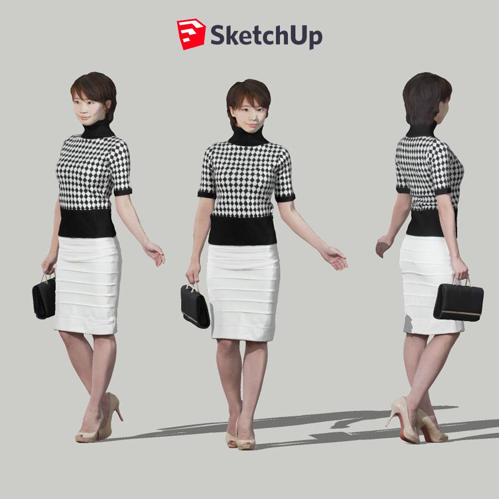 SketchUp素材 3D人物モデル ( Posed ) 025_Haru - 画像1