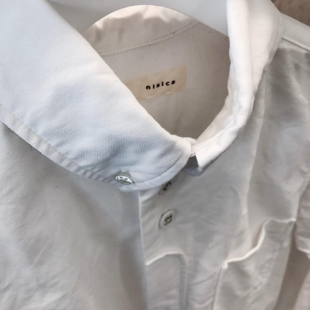nisica ボタンダウンシャツ WHITE