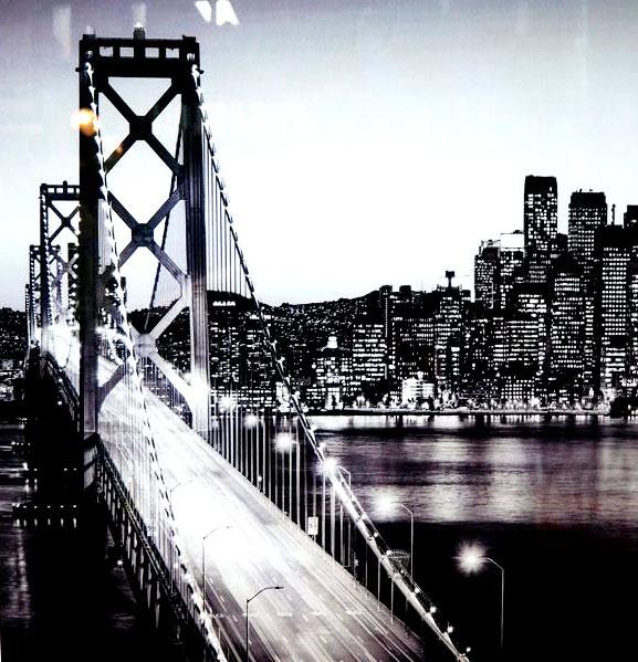 品番0138 新品 ガラスア―ト 9013 『ゴールデン・ゲート・ブリッジ  モノクロ』 黒フレーム付 壁飾り 飾り板 アメリカン雑貨