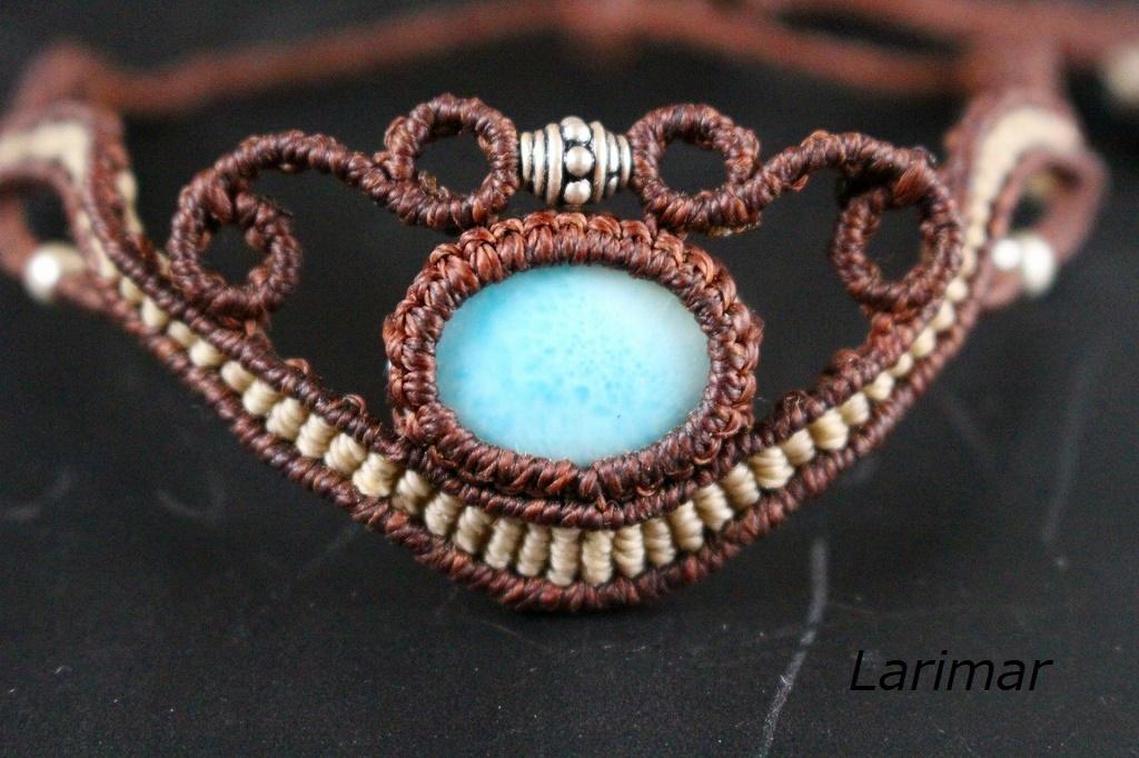 Larimar macrame bracelet
