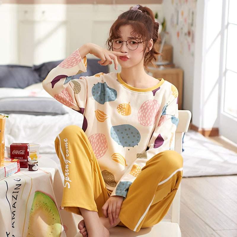【パジャマ】2点セットプリントカジュアルゆったり長袖パジャマ26795404