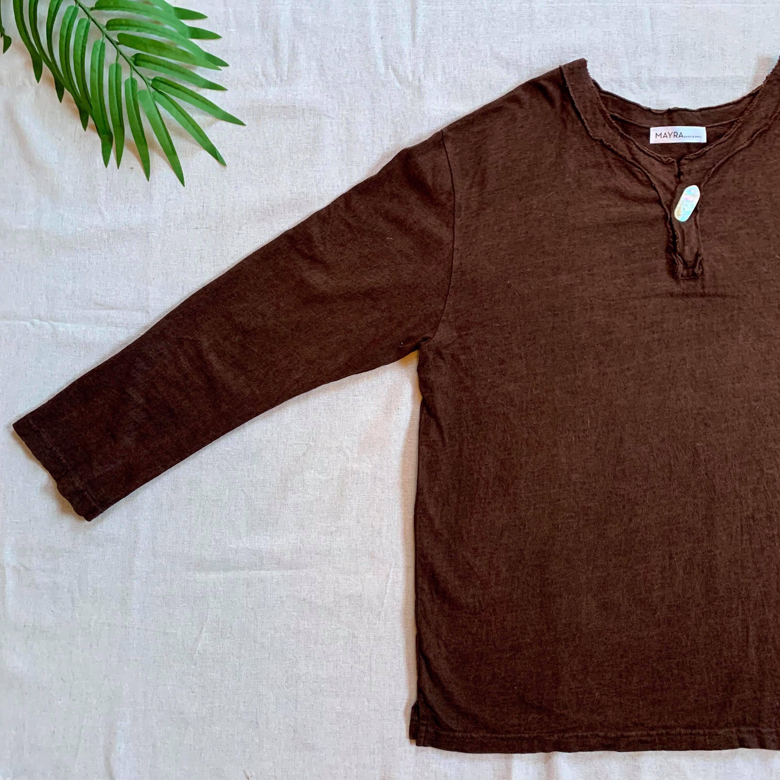 【メンズ長袖Tシャツ】ヘンプコットン 泥染・夜光貝ボタン付・伝統工芸士染め