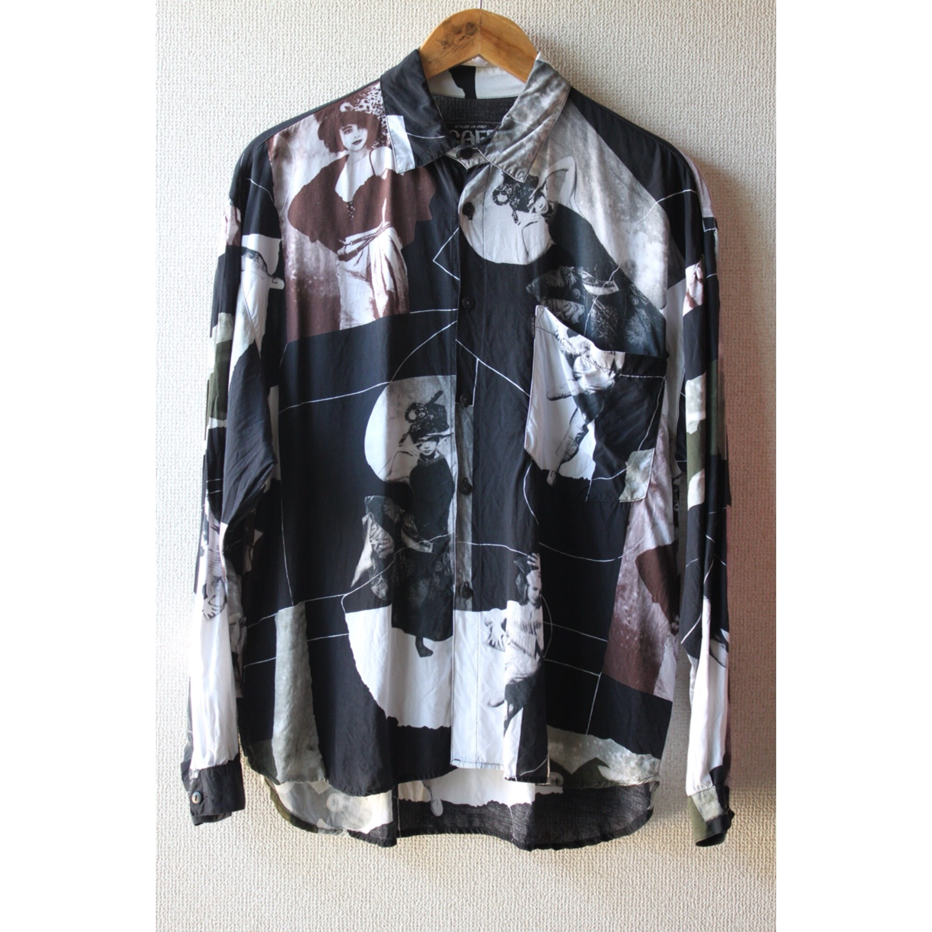 Vintage monotone photo print shirt