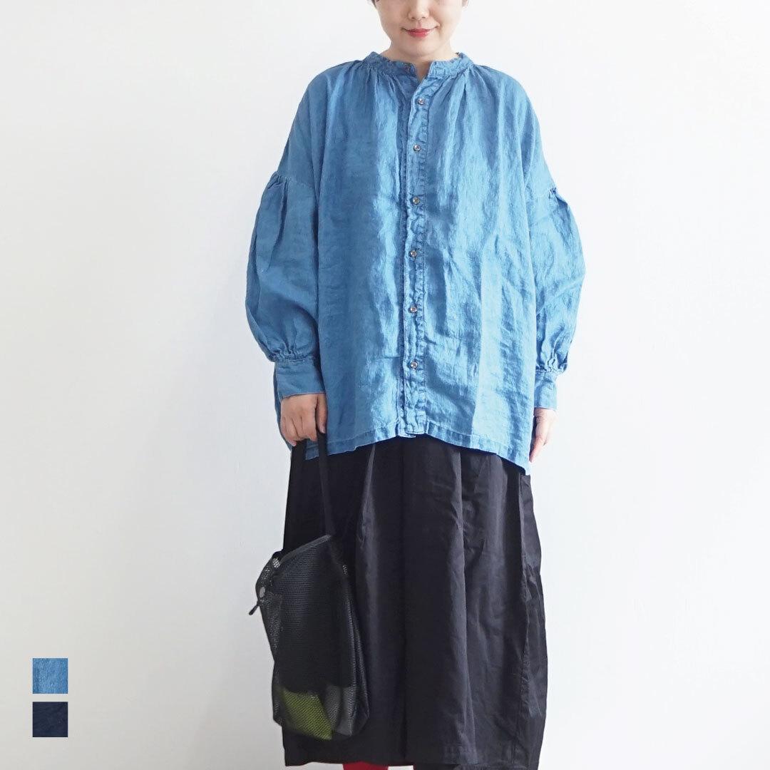 【再入荷なし】  ICHIAntiquites イチアンティークス LINEN INDIGO BLEACH SHIRT リネンインディゴブリーチシャツ (品番600126)
