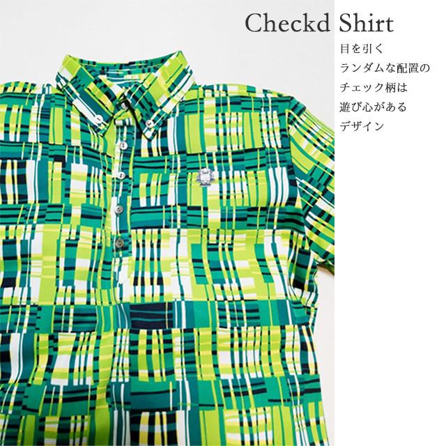 ゴルフプロ監修 チェック半袖シャツ【日本製】グリーン