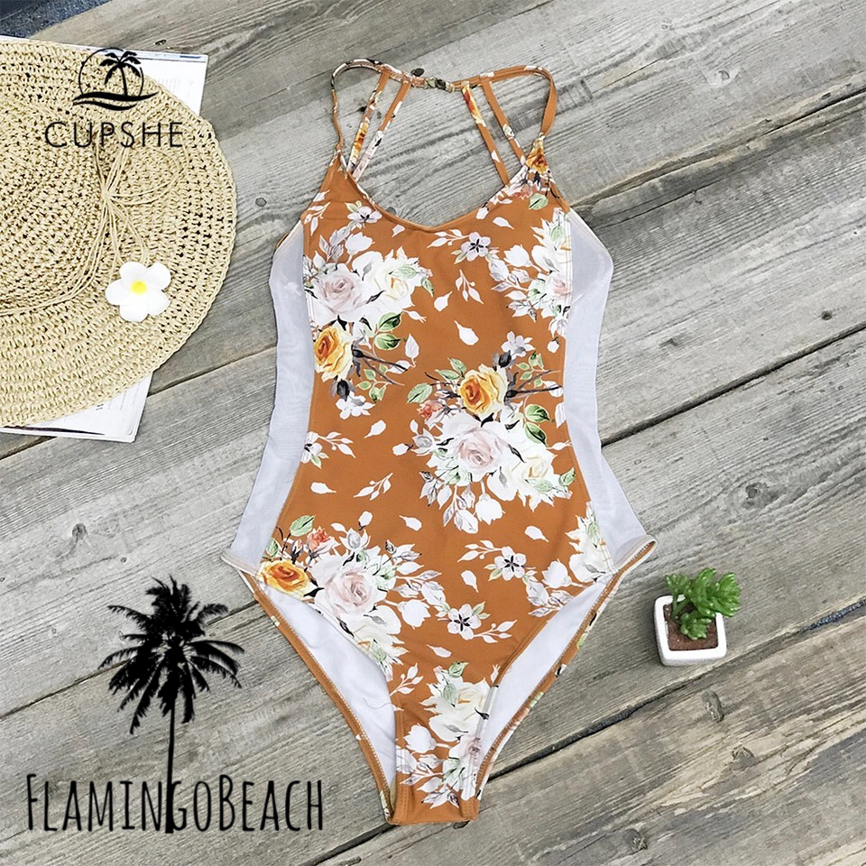 【FlamingoBeach】brown flower monokini モノキニ