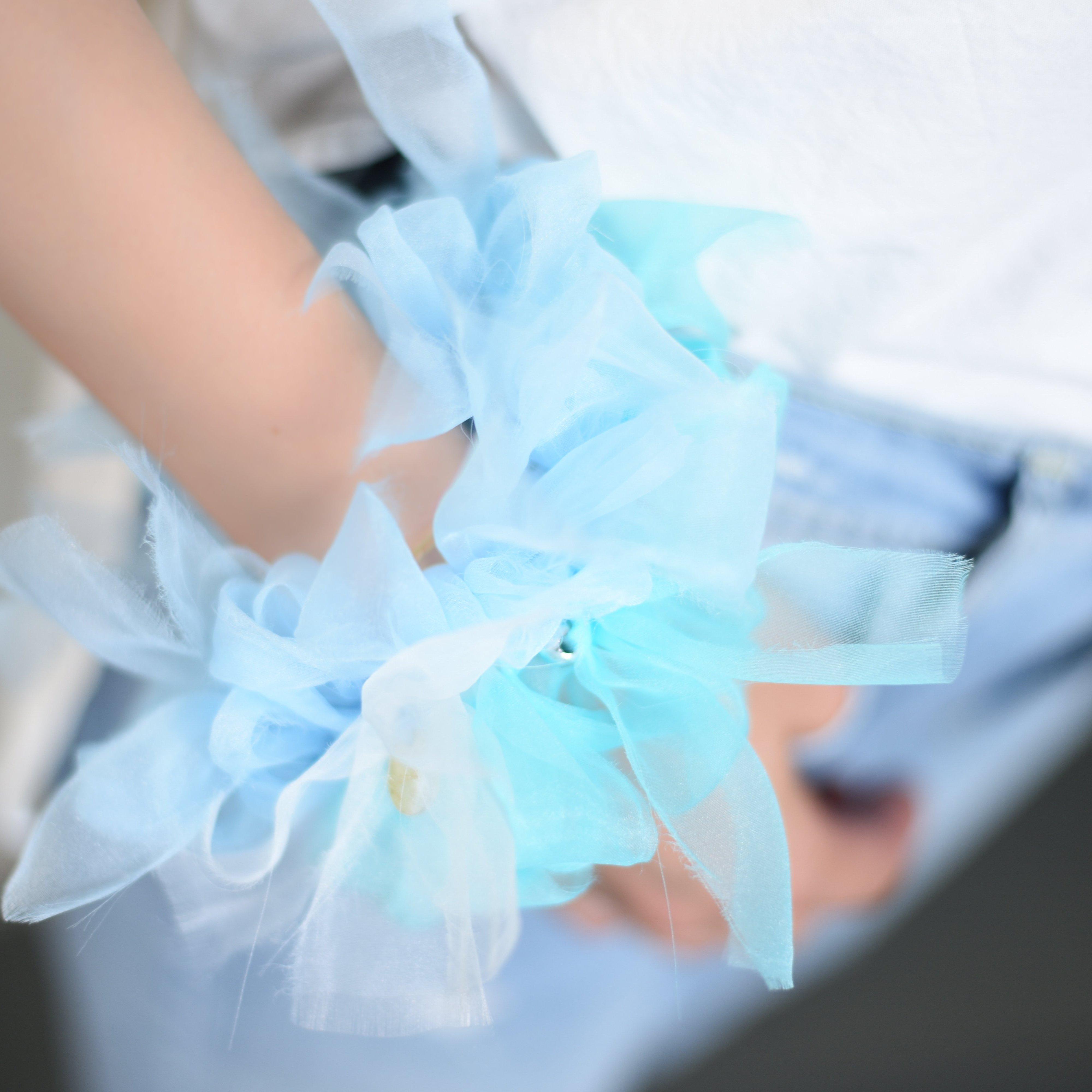 ブルーハワイ~彩る咲き編みシュシュ