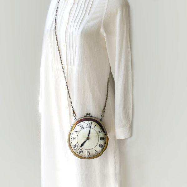 【受注製作】時計がま口 ミニポシェット ローマ数字金時計 - 金星灯百貨店