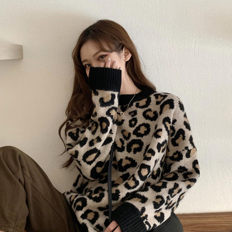 【送料無料 】おしゃれ ニット ♡ レオパード ヒョウ柄 大人可愛い セーター プルオーバー トップス