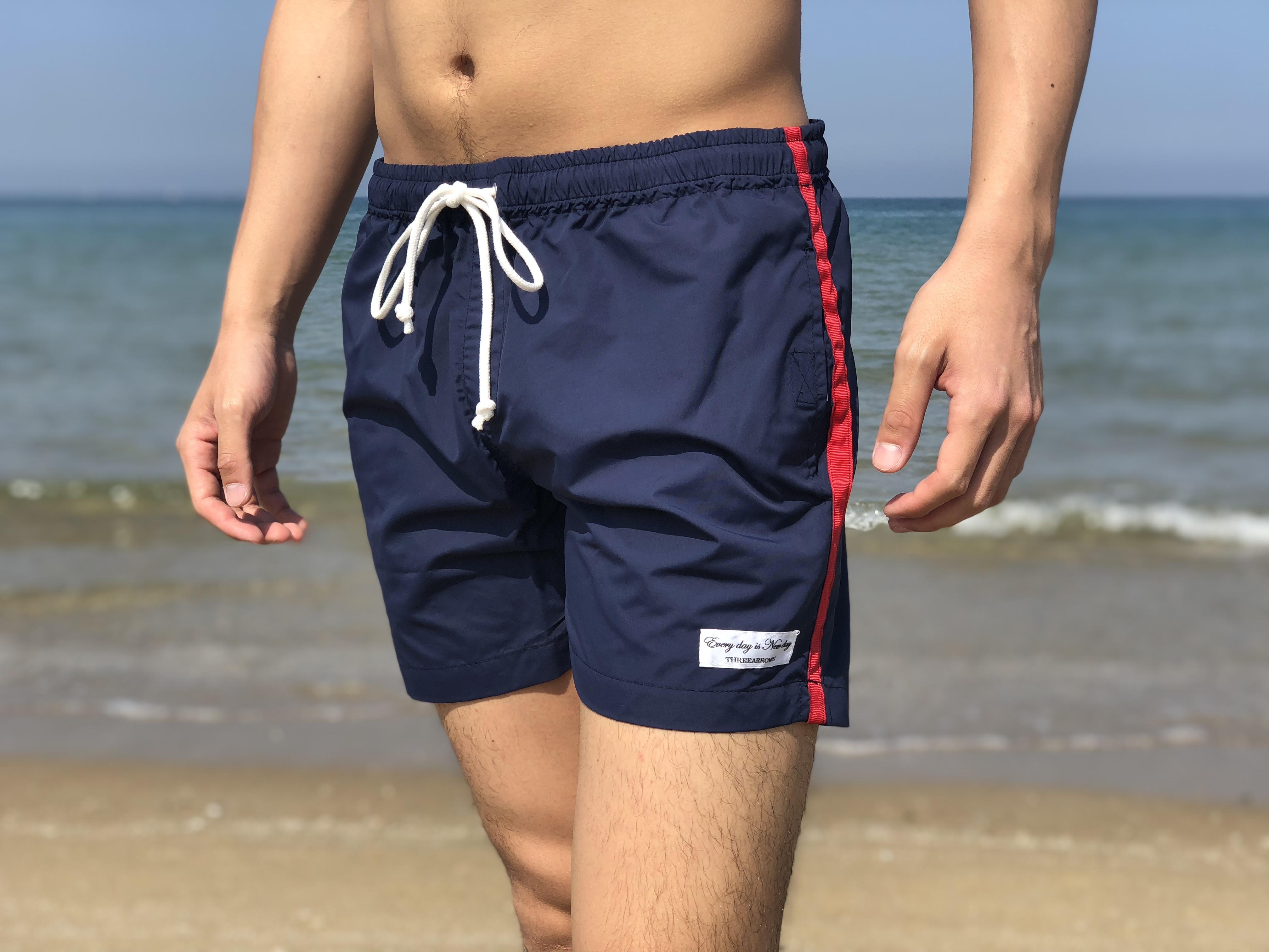 【SUMMER SALE】ThreeArrows sideline Board Shorts(navy × red)