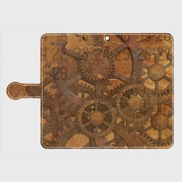 歯車スチームパンク(薄茶)/Androidスマホケース(手帳型ケース)