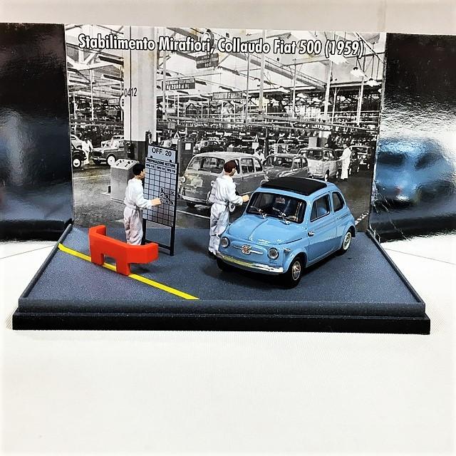 Fiat nuova 500 (1958)Collaudo a fine linea montaggio Stabilimento Fiat Mirafiori, Torino 1/43 【brumm】【1セットのみ】【税込価格】