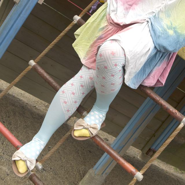 紬POP|タイツ|秋名バラ風 ライトブルー|adP00003
