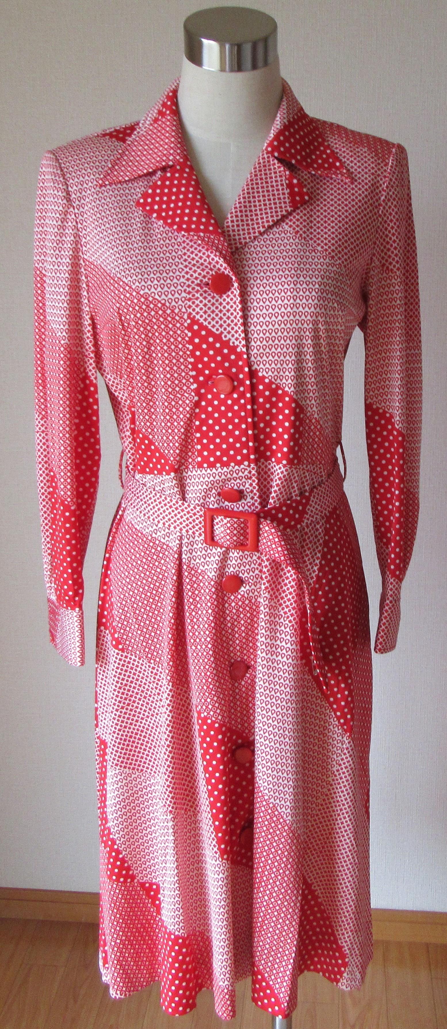昭和レトロファッション ワンピース 中古 長袖 ベルト付き 赤