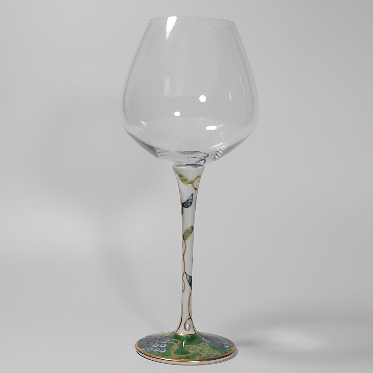 ハイレッグワイングラス(大) (染錦葡萄グリーン) 20-008-C