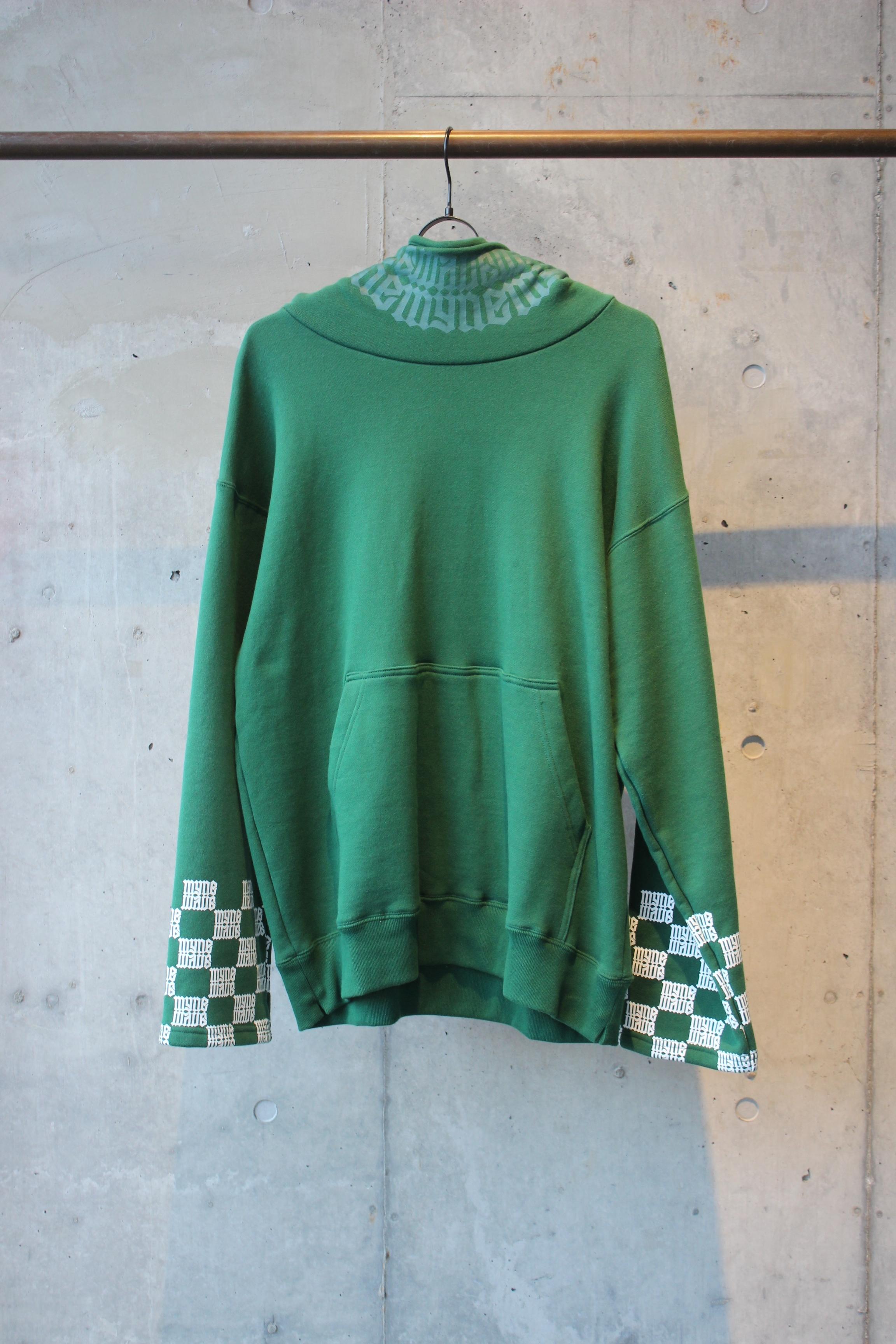 【50%OFF】checker sleeve hoodie / GREEN - 画像1