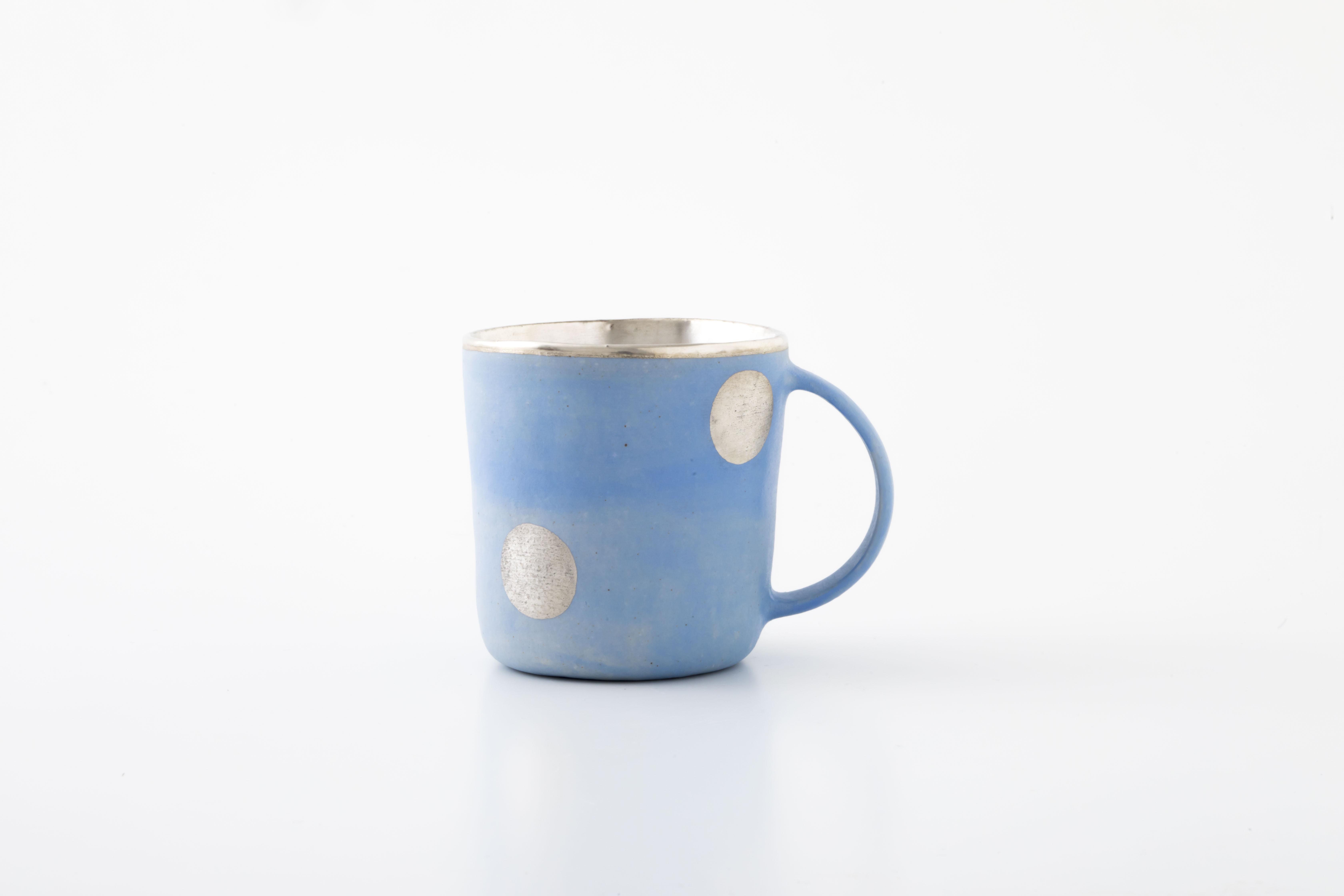 マグカップ:水色(銀彩・ドット・02) / 中囿義光