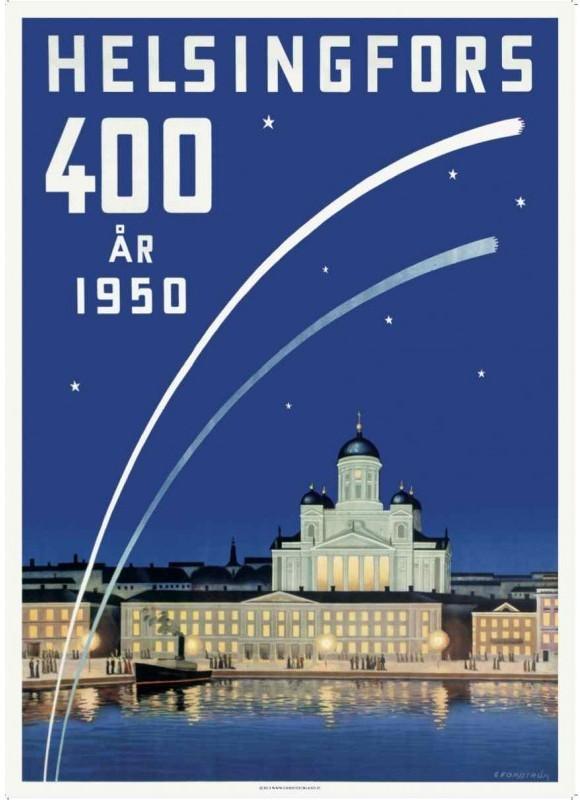 レトロポスター50x70 「ヘルシンキ400周年」スウェーデン語版1950年