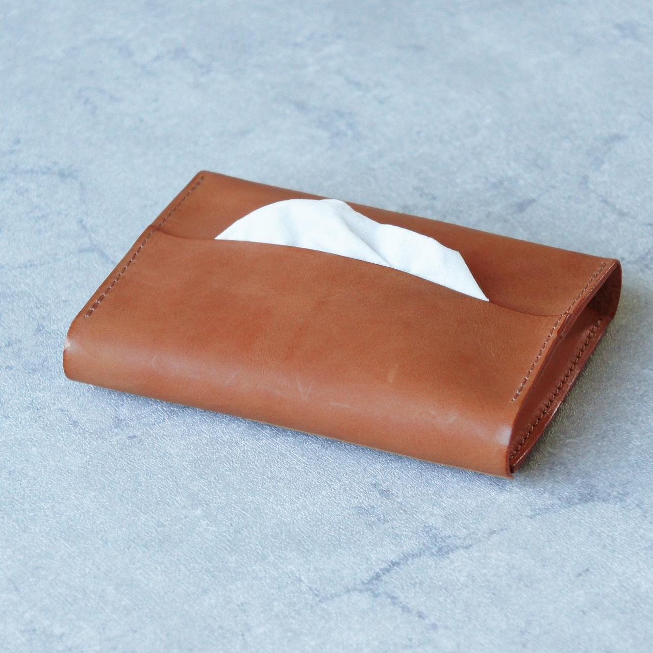 卓上本革ポケットティッシュケース【キャメル】(ティッシュ2個収納可)