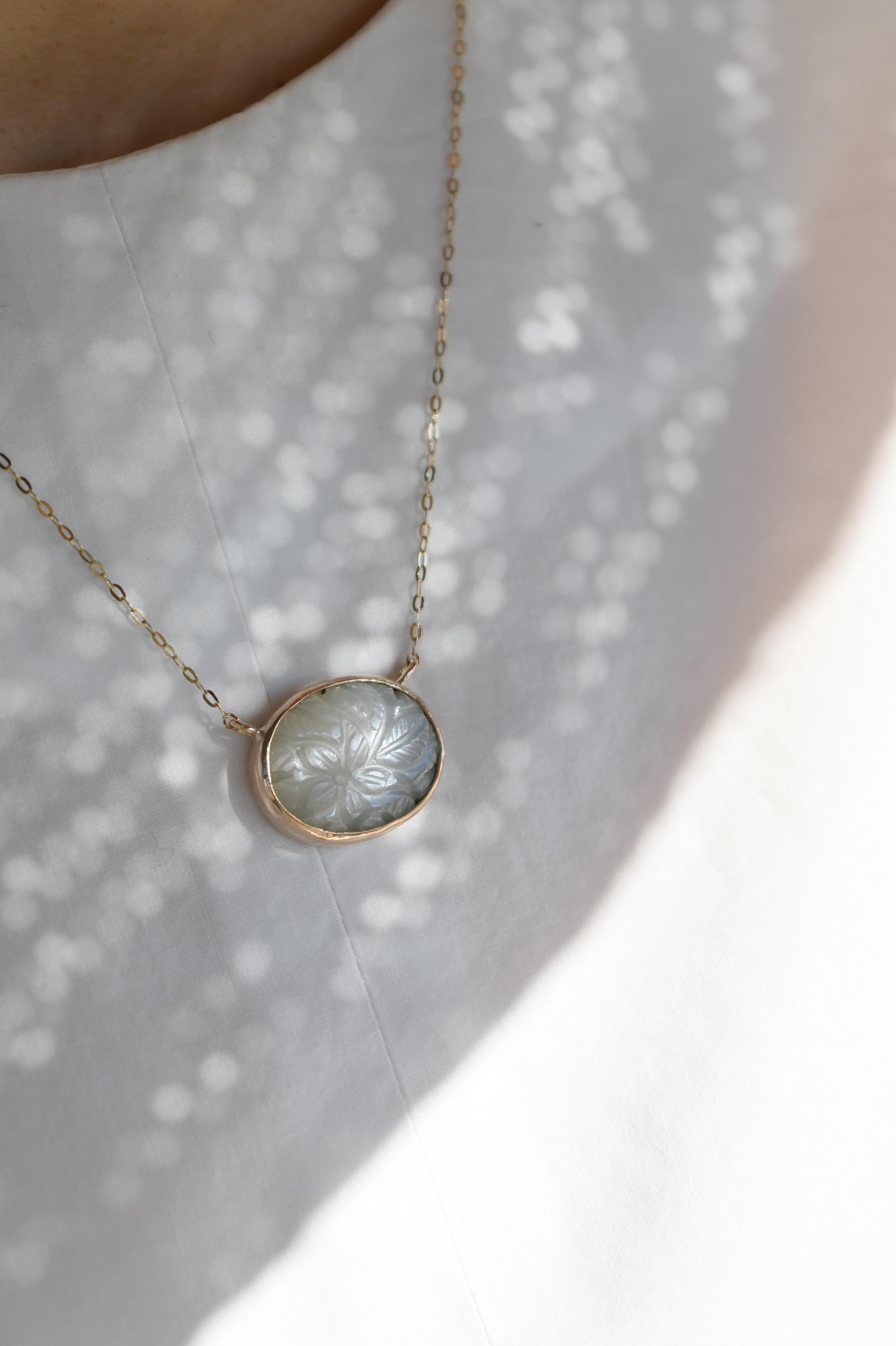 K10 Carving Moonstone Necklace 10金カービングムーンストーンネックレス