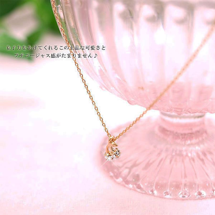 ★プレシオサ社製クリスタル★ゴールド&クリスタルの輝き・プチサイズチェリーネックレス