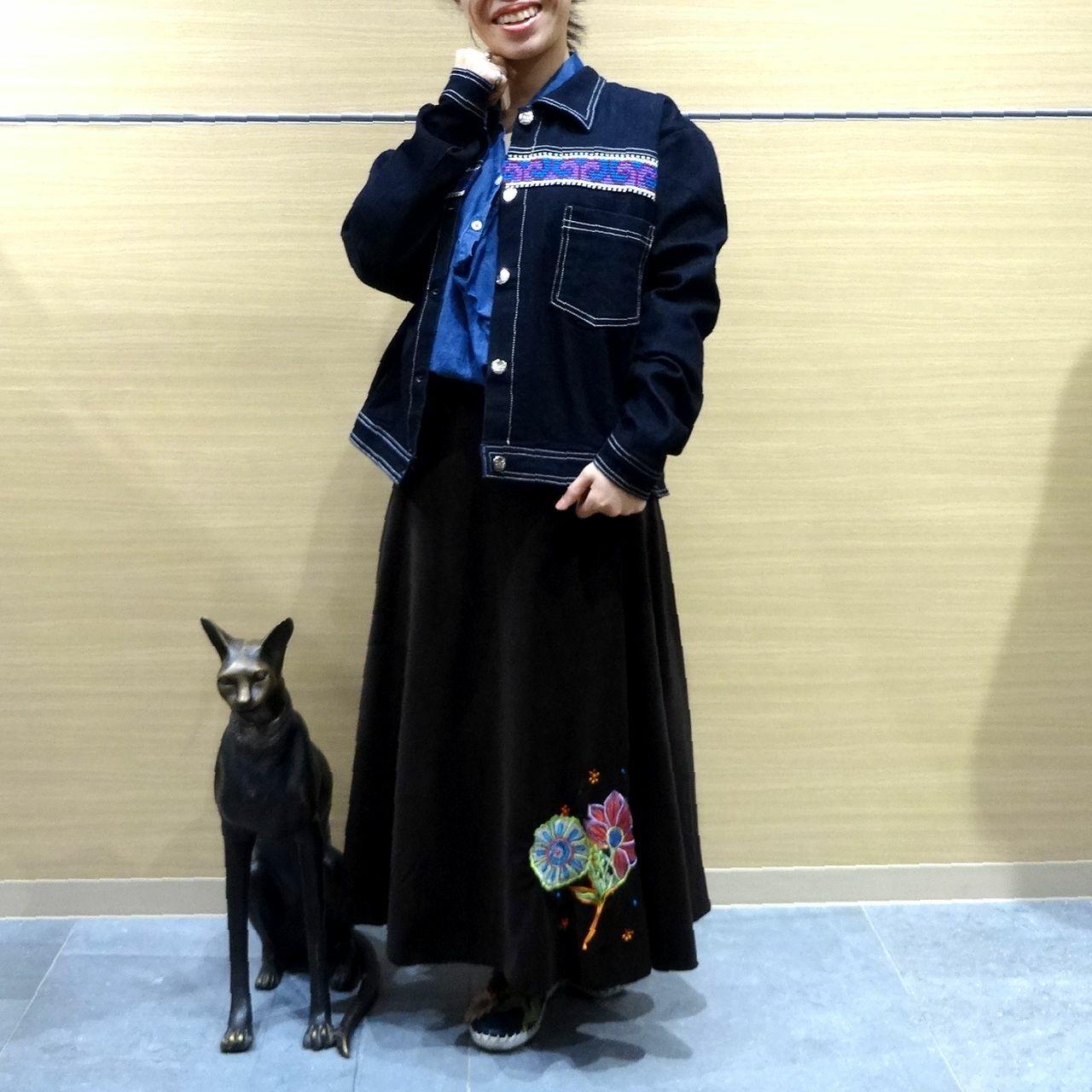 EMS-010BR 刺繍ベルベット・サリー 巻きスカート ダークブラウン