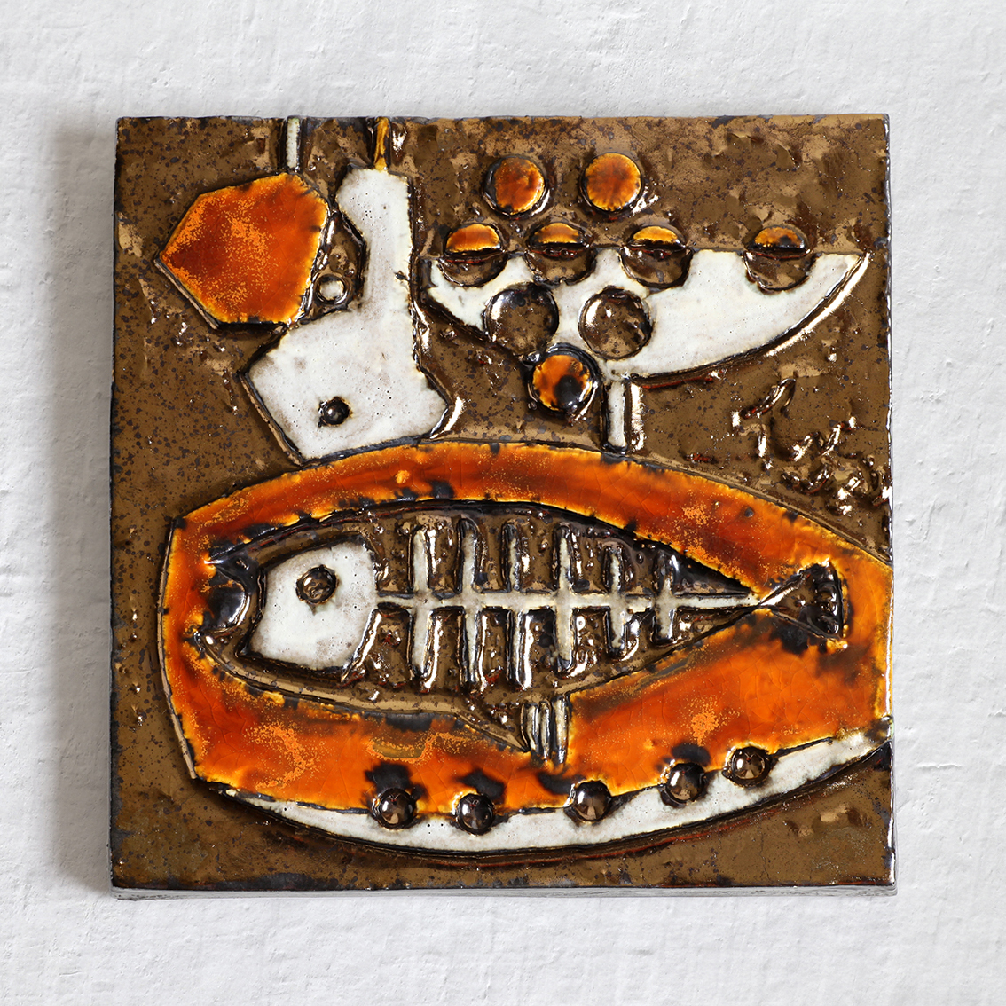 Helmut Schaffenacker ヘルムート シェーフェナッカー 魚と果物の陶板 ヴィンテージ