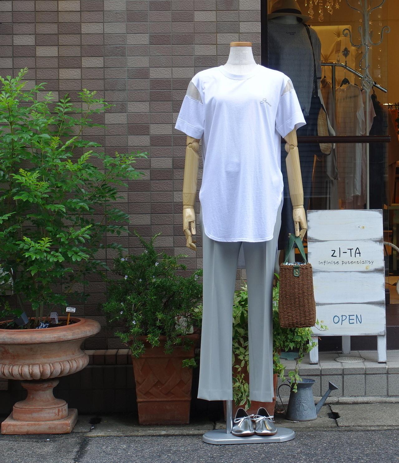 21050 オーガンジースリーブTシャツ